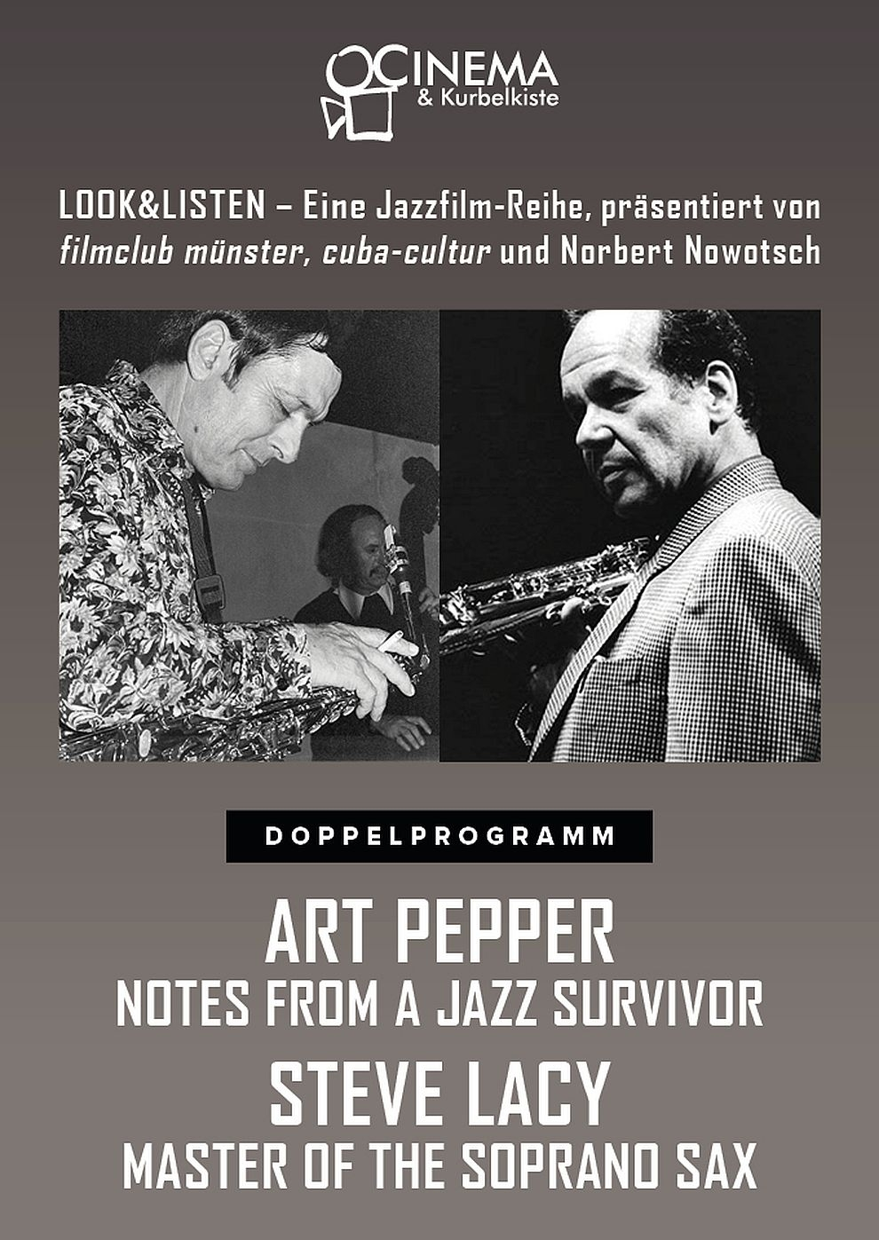 Art Pepper: Notes from a Jazz Survivor & Steve Lacy: Master of the Soprano Sax (Poster)