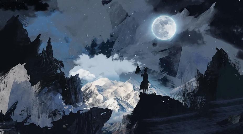 Dunkle Nacht mit Mondschein