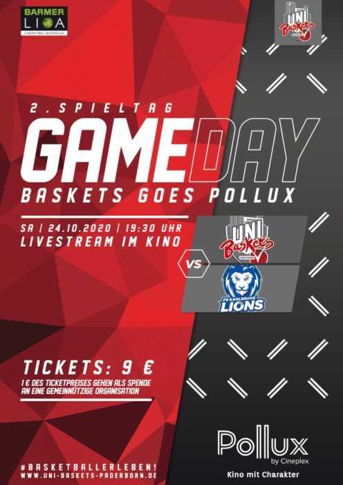 Uni Baskets Paderborn - PS Karlsruhe Lions LIVESTREAM (Poster)